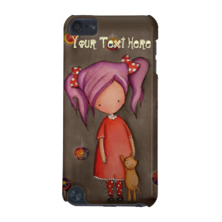 Purple hair girl with cat iPod Touch 5g Case