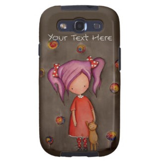 Purple hair girl with cat Samsung Galaxy S3 Case