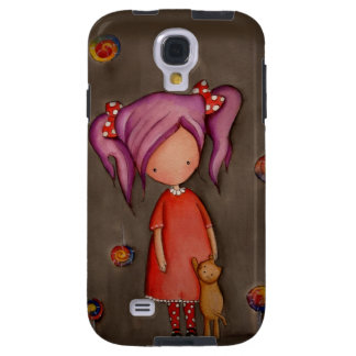 Purple hair girl with cat Samsung Galaxy S4 Case