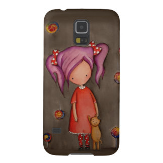 Purple hair girl with cat Samsung Galaxy S5 Case