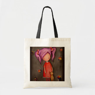 Purple hair little girl and cat Tote Bag