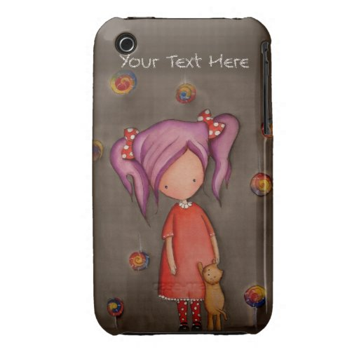 Purple hair little girl w cat iPhone 3G/3GS Case iPhone 3 Cases