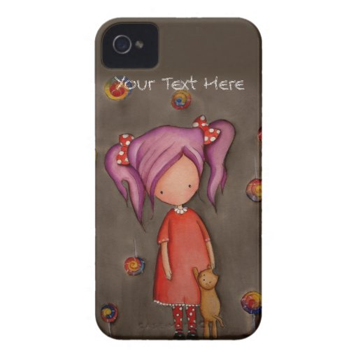 Purple hair little girl with cat iPhone 4 Case