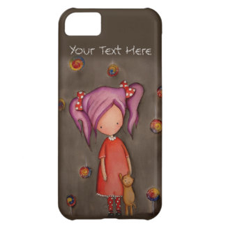 Purple hair little girl with cat iPhone 5C Case