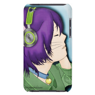 Purple Haired Cat Girl With Headphones iPod Case-Mate Case