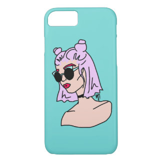 Purple Haired Girl Turquoise iPhone 7 Case