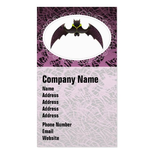 Purple Hairy Halloween Bat Business Card Template