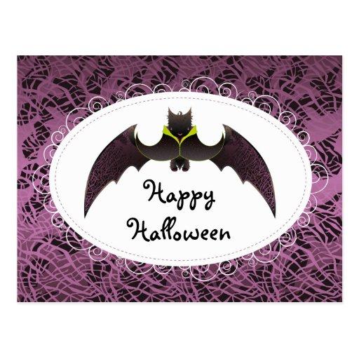 Purple Hairy Halloween Bat Post Card