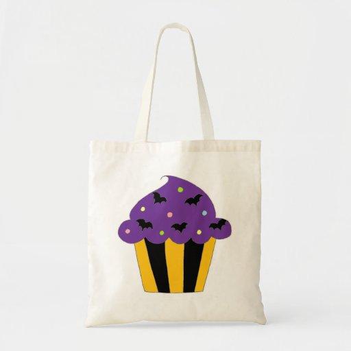 Purple Halloween Bats Cupcake Tote Bags