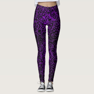 Purple Halloween Damask Leggings