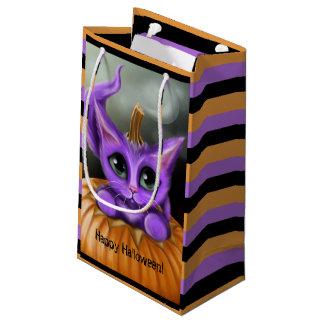 Purple Halloween Kitty Striped Small Gift Bag