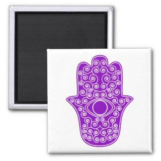 Purple Hamsa-Hand of Miriam-Hand of Fatima.png Square Magnet