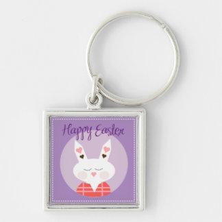 Purple Happy Easter Bunny Key Ring