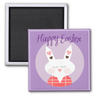 Purple Happy Easter Bunny Magnet