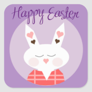 Purple Happy Easter Bunny Square Sticker