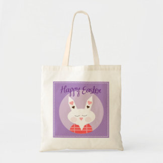 Purple Happy Easter Bunny Tote Bag