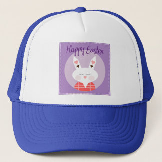 Purple Happy Easter Bunny Trucker Hat