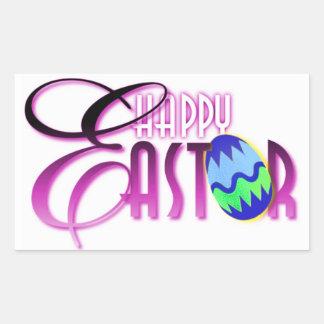 Purple Happy Easter Egg Rectangular Stickers