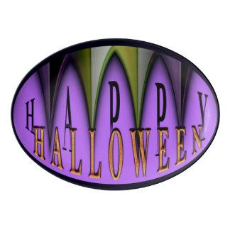 Purple Happy Halloween Striped Fangs Platter Porcelain Serving Platter
