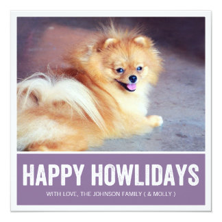 Purple Happy Howlidays - Pet Photo Holiday Cards Personalized Announcement