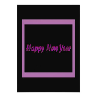 purple happy new year 13 cm x 18 cm invitation card