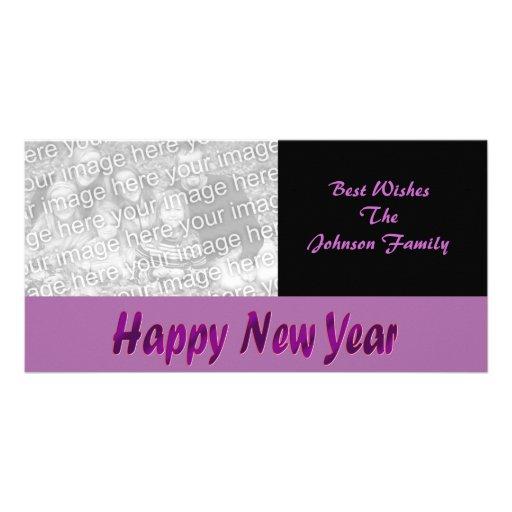 purple happy new year customized photo card