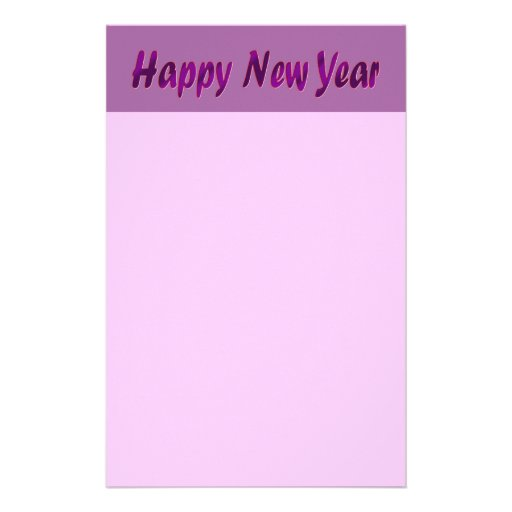 purple happy new year customized stationery