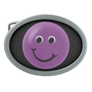 Purple Happy Smiley Oval Belt Buckle