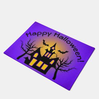 Purple Haunted House and Bats Doormat