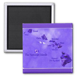 Purple Hawaiian island map Magnet