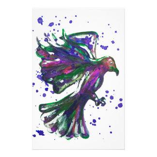 Purple Hawk Paint Splatter Watercolour Bird Design Stationery