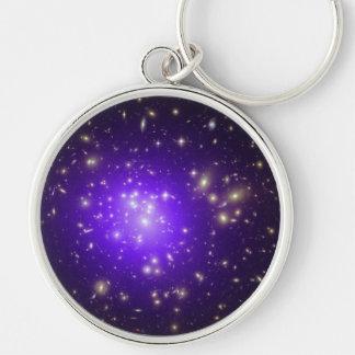 Purple haze of stars at night key chain