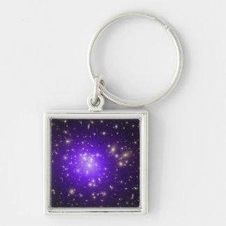 Purple haze of stars at night key chains