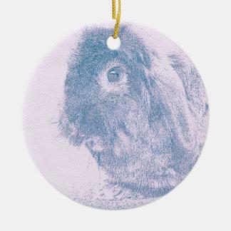 Purple haze rabbit round ceramic decoration