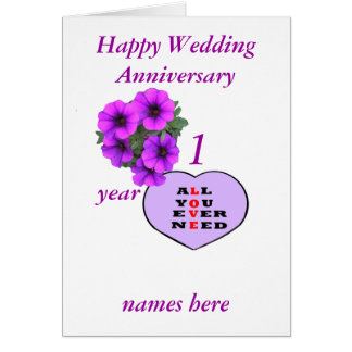 Purple Heart and flowers Anniversary add names, Greeting Card
