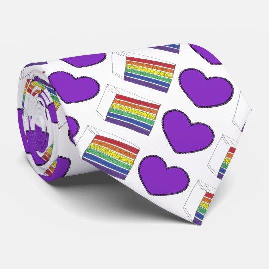 Purple Heart and Rainbow Layer Cake Pride Love