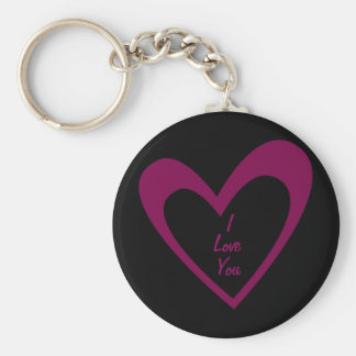 Purple Heart Basic Round Button Key Ring