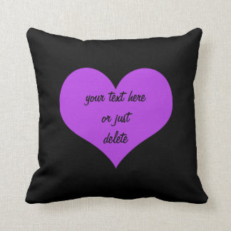 Purple heart big black custom cushion pillow