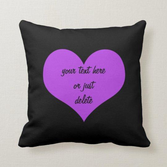 Purple heart big black custom cushion pillow
