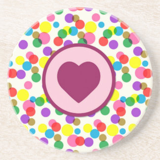 Purple Heart Confetti Color Splashes Polka Dots Sandstone Coaster