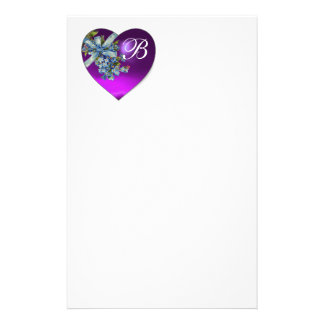 PURPLE HEART & FORGET ME NOTS MONOGRAM STATIONERY DESIGN