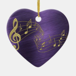 Purple Heart Gold Music Notes Ornament