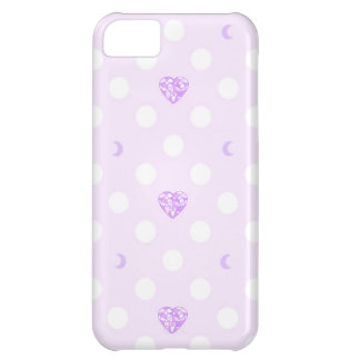 Purple Heart Jewels, Crescent Moons, and Dots iPhone 5C Case
