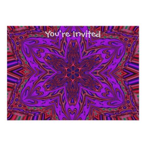 Purple Heart Kaleidoscope Design Personalized Invitations