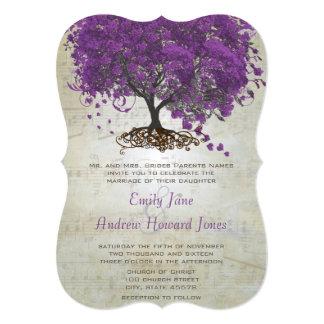 """Purple Heart Leaf Tree Wedding Invites 5"""" X 7"""" Invitation Card"""