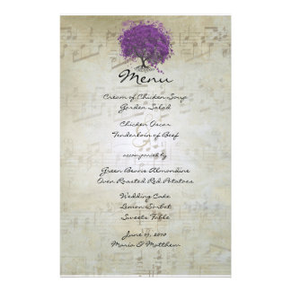 Purple Heart Leaf Tree Wedding Menu