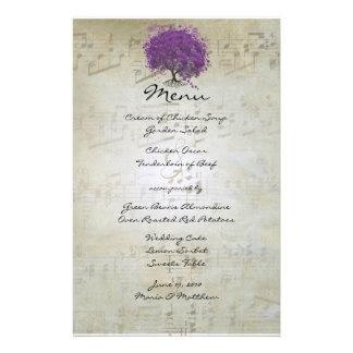 Purple Heart Leaf Tree Wedding Menu Stationery Design
