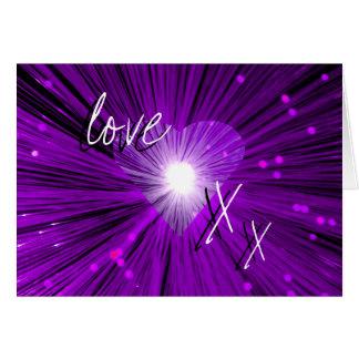 Purple Heart love kisses Valentine s Day card