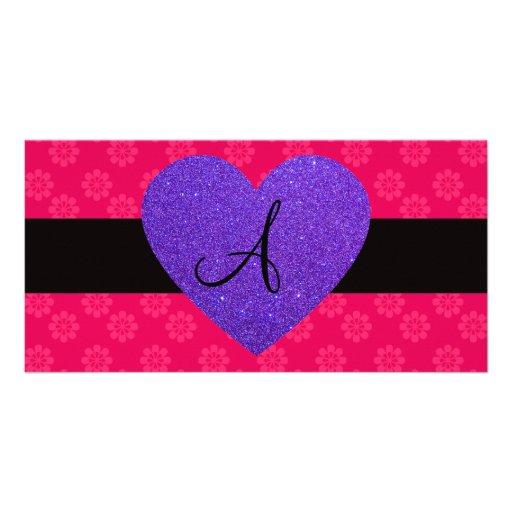 Purple heart monogram pink flowers photo card template