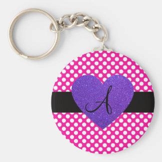 Purple Heart monogram polka dots Keychains